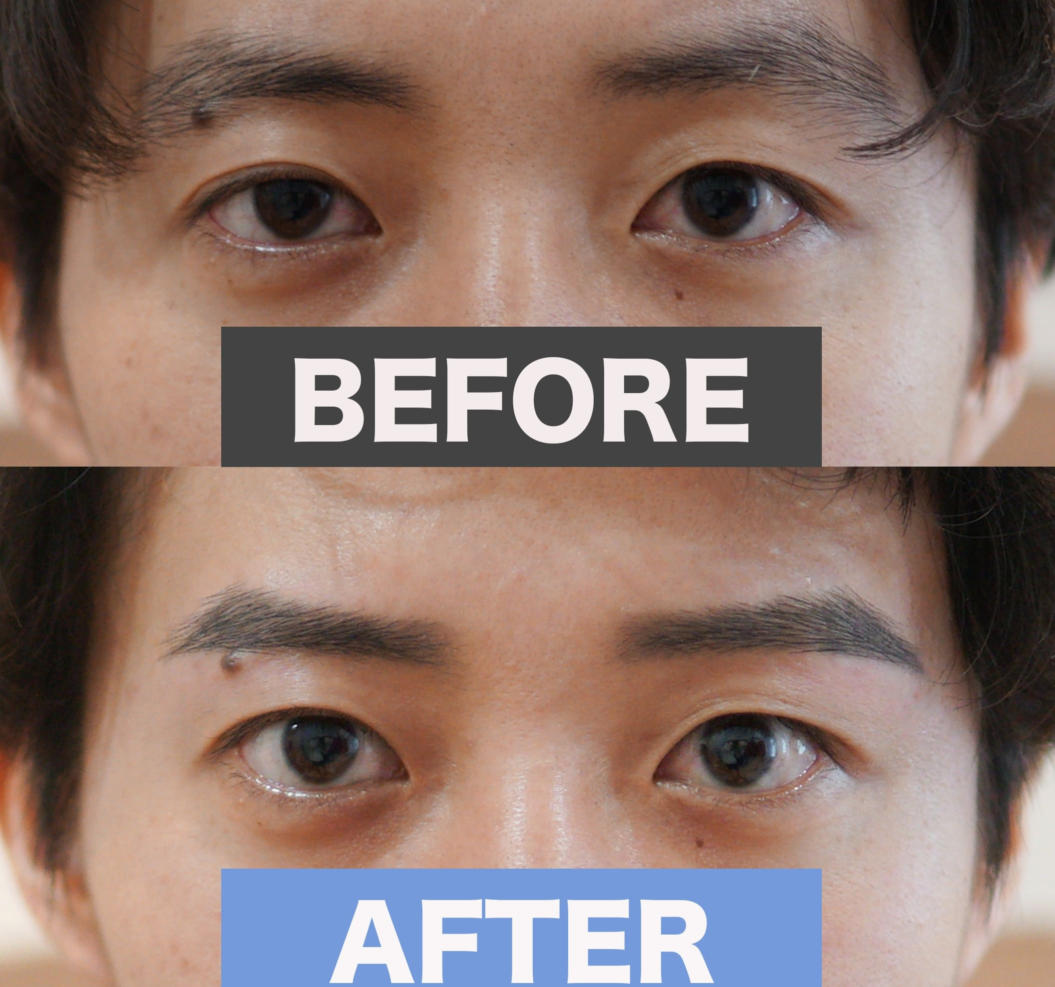 男性眉毛を整える前と整えた後