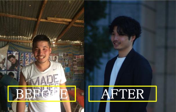 メンズ眉毛髭髪型の変更前後の比較例