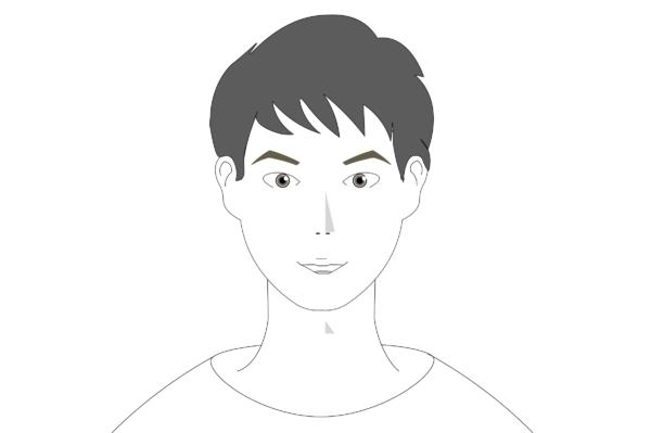 角のある眉毛の形の特徴