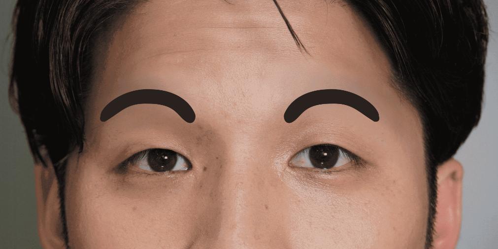 丸いメンズ眉毛